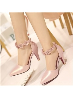 PU Line-Style Buckle Appliques Heel Covering Women's Pumps