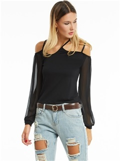 Chic Lantern Sleeves Plain T-shirt