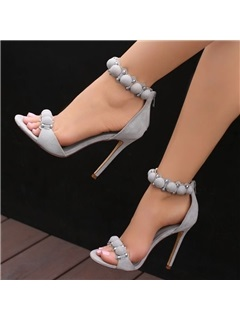 Suede Zipper High Heel Heel Covering Women's Sandals