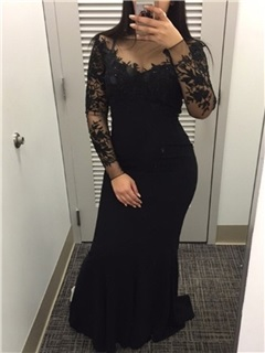 Mysterious Bateau Trumpet Long Sleeves Appliques Beading Lace Floor-Length Evening Dress