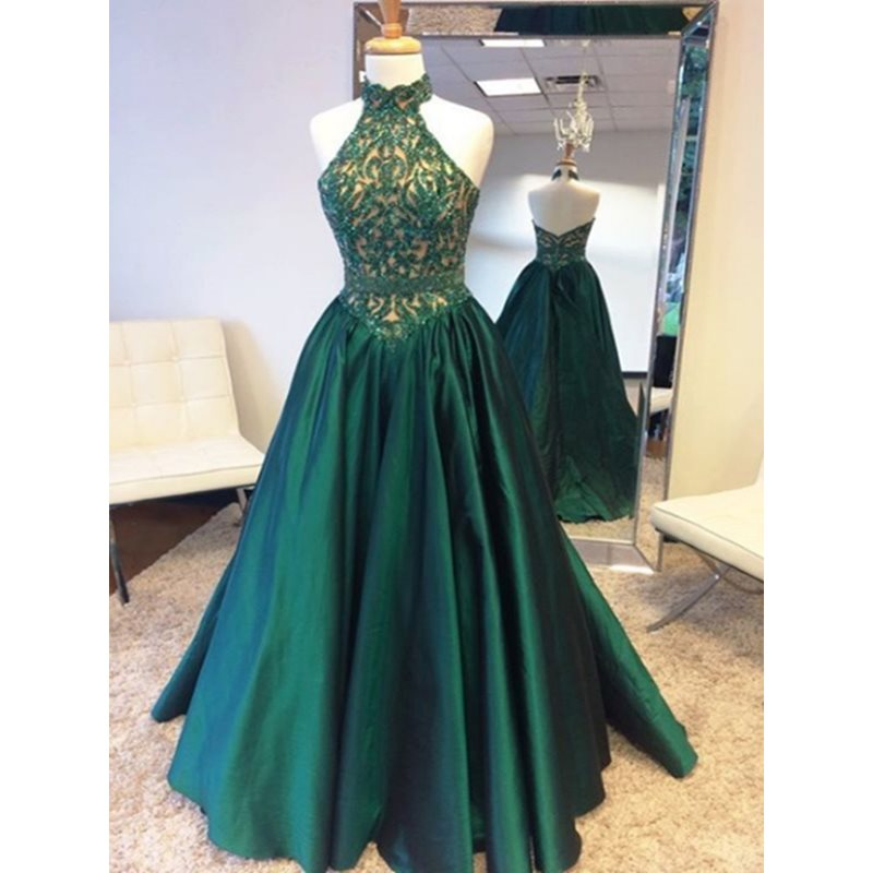 Halter A-Line Beaded Lace Long Prom Dress