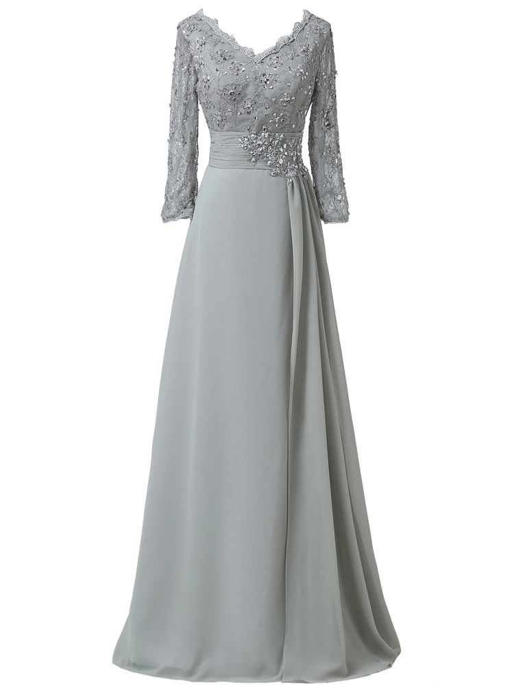 V-Neck Long Sleeve Beading Lace Mother of the Bride Dress