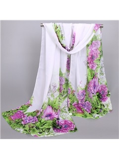 New Style Beautiful Peony Printed Thin Women's Scarf