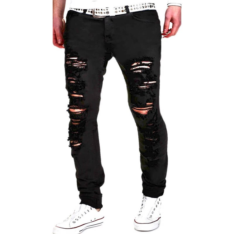 Tidebuy Worn Hole Slim Fit Mens Ripped Jeans
