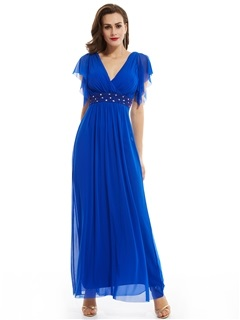 V Neck Zipper-Up Cap Sleeves Beaded Long Evening Dress 5