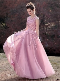 Sweet A-Line Sleeveless Appliques Scoop Beading Sashes Prom Dress