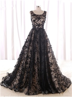 Vintage A-Line Strapless Beading Lace Court Train Evening Dress