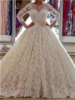 3/4 Length Sleeve Lace Ball Gown Wedding Dress 14