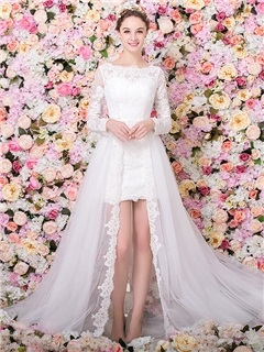 Long Sleeve Column Lace Wedding Dress with Detachable Train 12