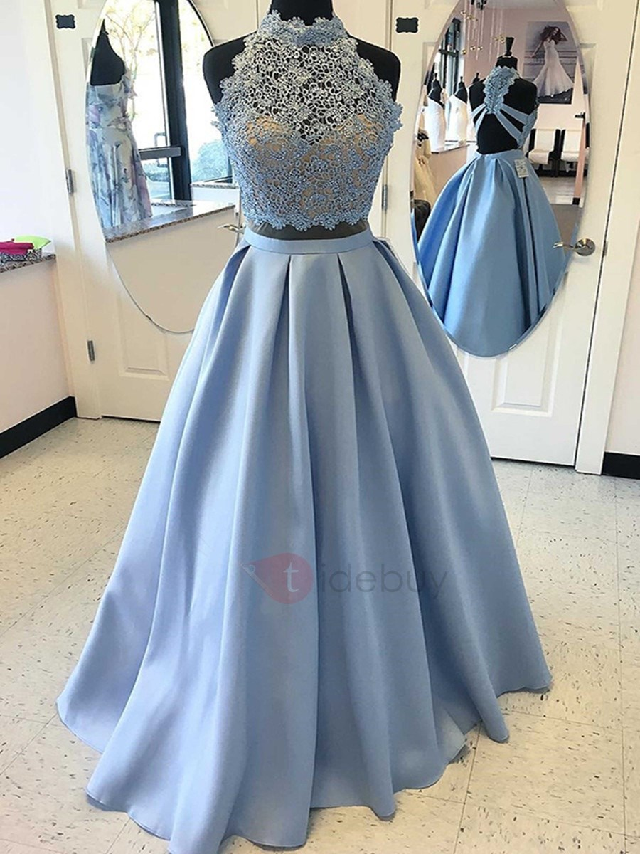 Stylish Two Pieces Appliques A-Line Beaded High Neck Floor-Length Prom Dress