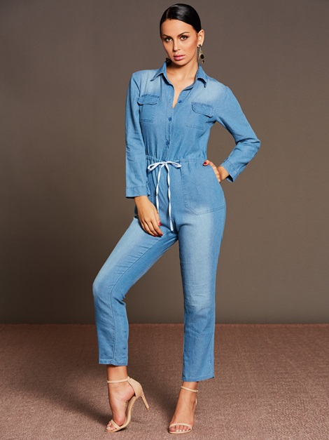 Skinny Plain Denim Patchwork Lace-Up Pocket Women's Jumpsuit