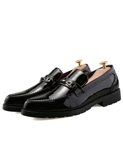 Patent Leather Plain Slip-On Men's Shoes