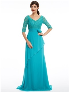 V Neck Half Sleeves A Line Sweep Train Evening Dress 1