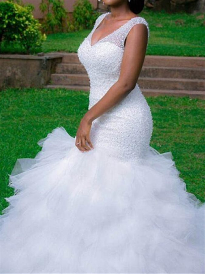 Straps Tiered Beading Mermaid Plus Size Wedding Dress