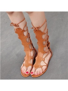 PU Zipper Cross Strap Hollow Women's High Shaft Sandals