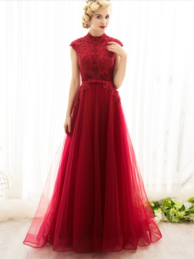 Fancy Appliques High Neck Beading A-Line Bowknot Sashes Evening Dress