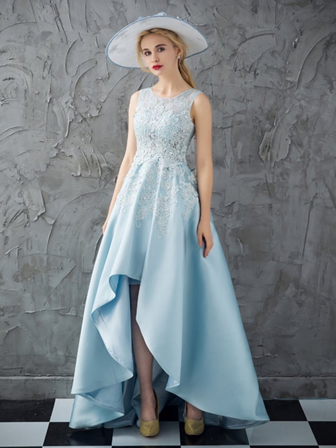 Nice Lace A-Line Scoop Beading Appliques Prom Dress