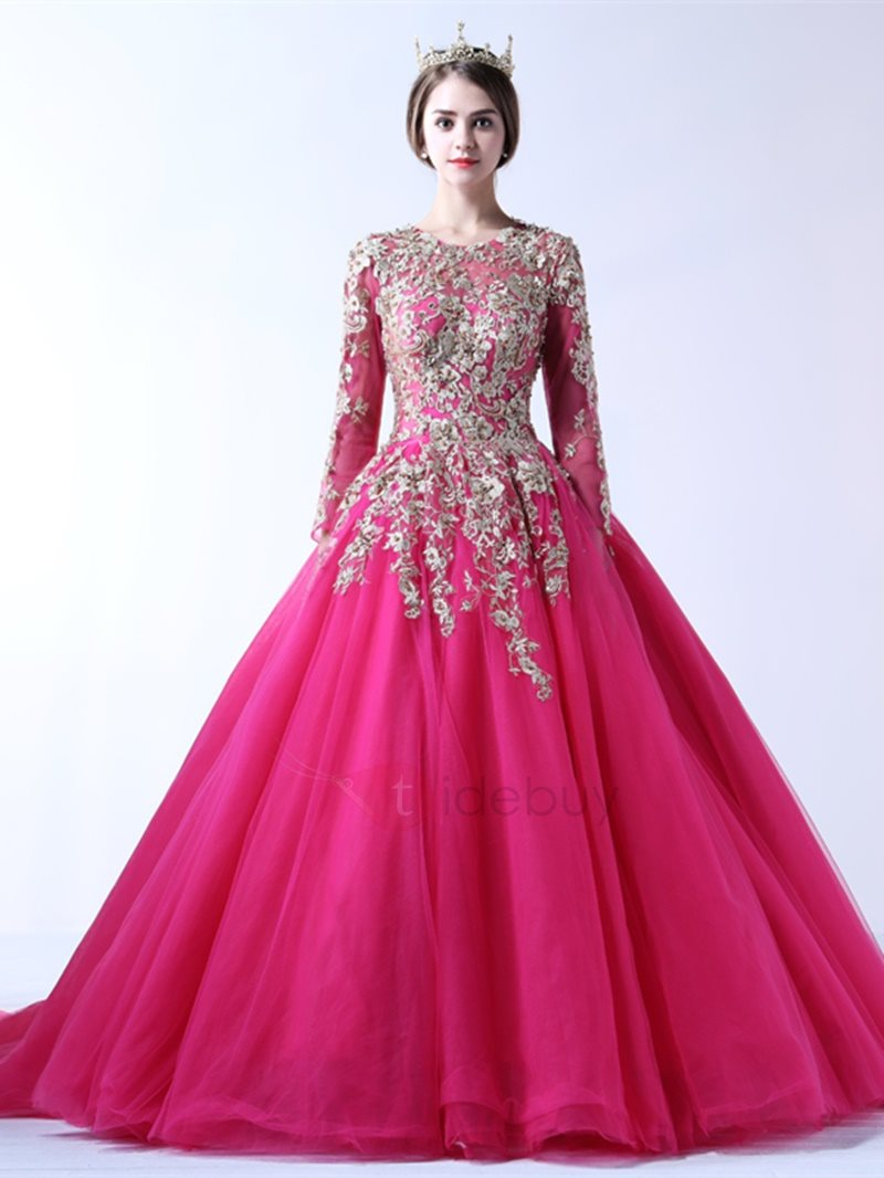 Gorgeous Ball Gown Appliques Jewel Court Train Long Sleeves ...