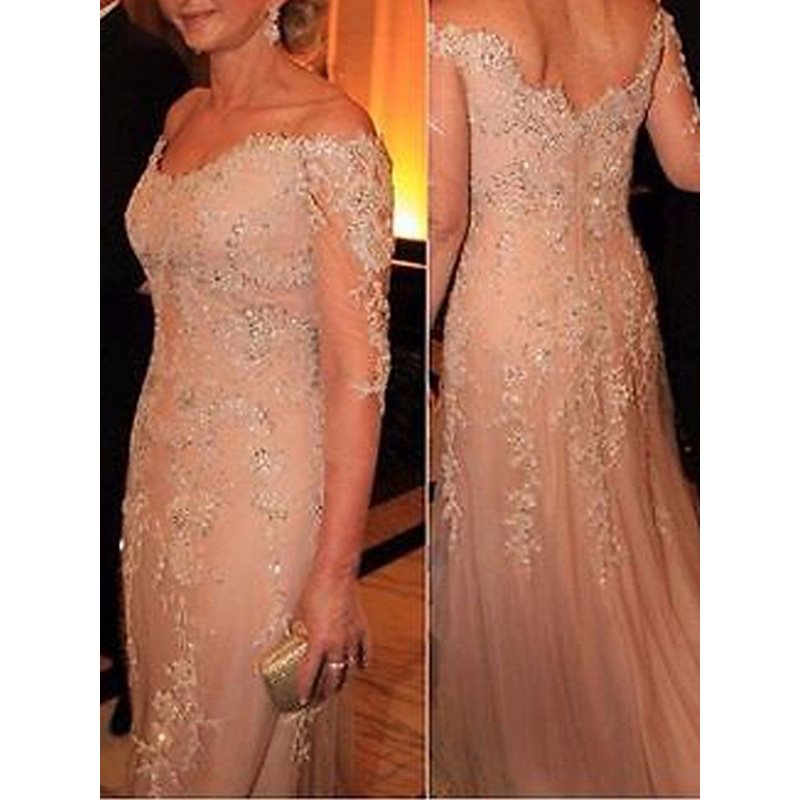 Popular Sequins Appliques Mother of the Bride Dress with Sleeves