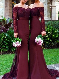 Off the Shoulder Appliques Bridesmaid Dress with Long Sleeve 6