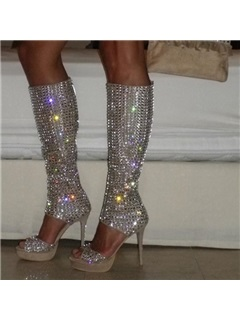 PU Zipper Rhinestone Women's Boots Sandals