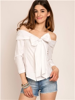 Plain Off Shoulder Bowknot T-Shirt