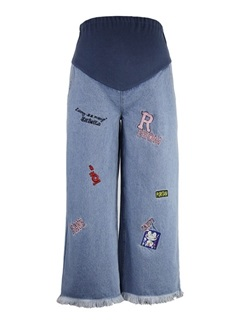 Embroidered Wide Leg Maternity Jeans