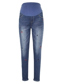 Care Belly Thicker Embroidered Maternity Jeans