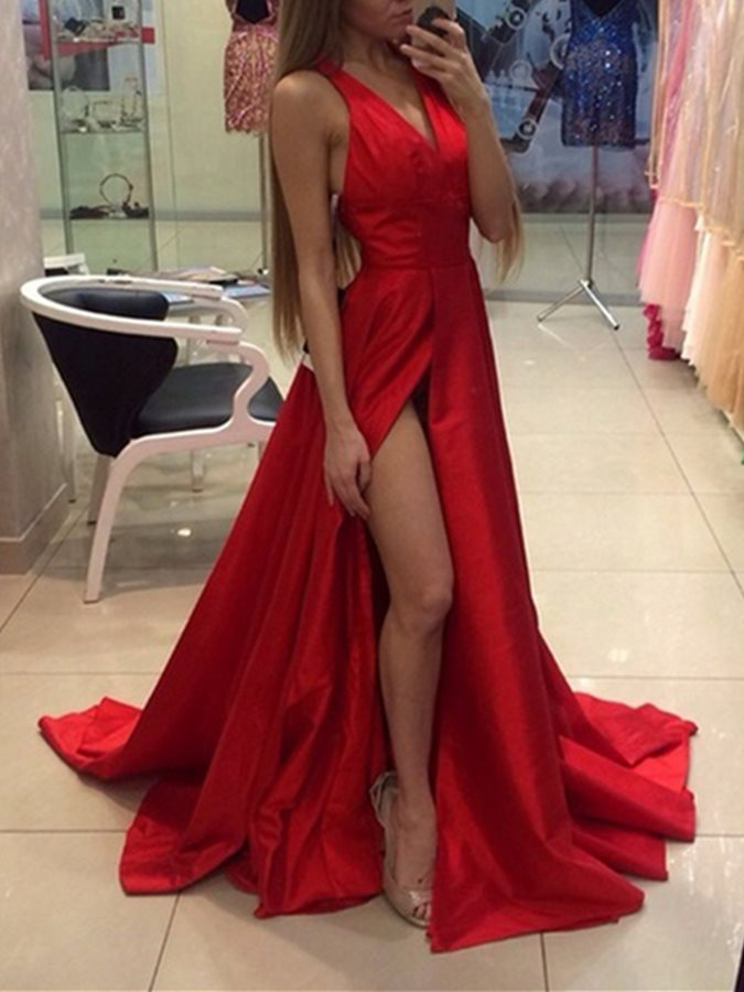 Sexy A-Line Split-Front V-Neck Red Prom Dress