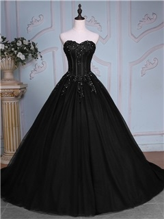 Elegant Ball Gown Appliques Sweetheart Beading Court Train Quinceanera Dress