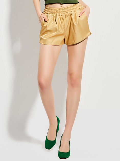Loose Mid-Waist Elastics Plain Women's Shorts