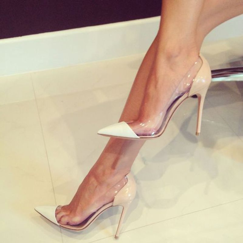 PU Slip-On Transparent Pointed Toe Pumps Discount tidebuy