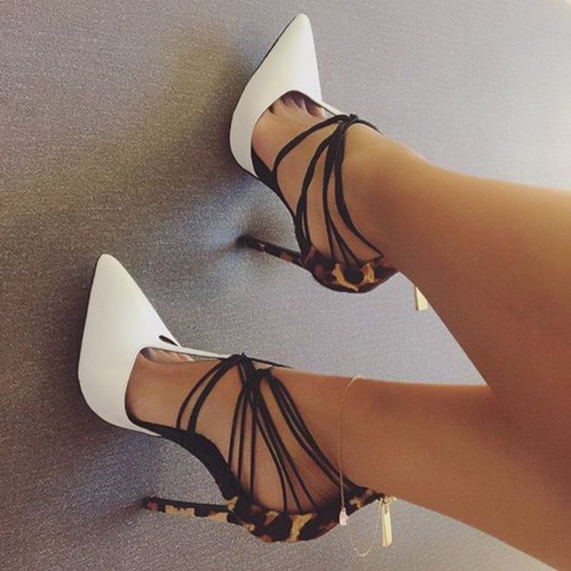 Leopard Pointed Toe Strappy Stiletto Heels Womens Sandals фото