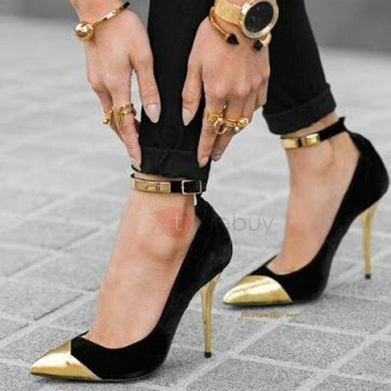 Image of Metal Cap Toe Stiletto Heels