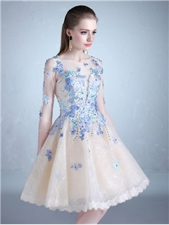 Sweet Scoop A-Line Half Sleeves Beading Lace Knee-Length Prom Dress