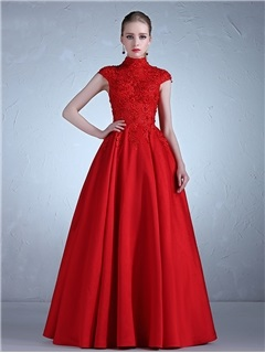 Fancy High Neck Appliques Beading A-Line Cap Sleeves Evening Dress