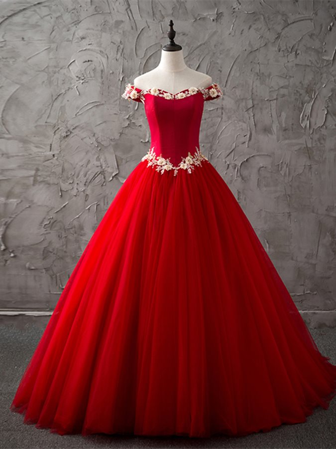 Elegant Ball Gown Sleeveless Off-the-Shoulder Flowers Sweep Train Quinceanera Dress