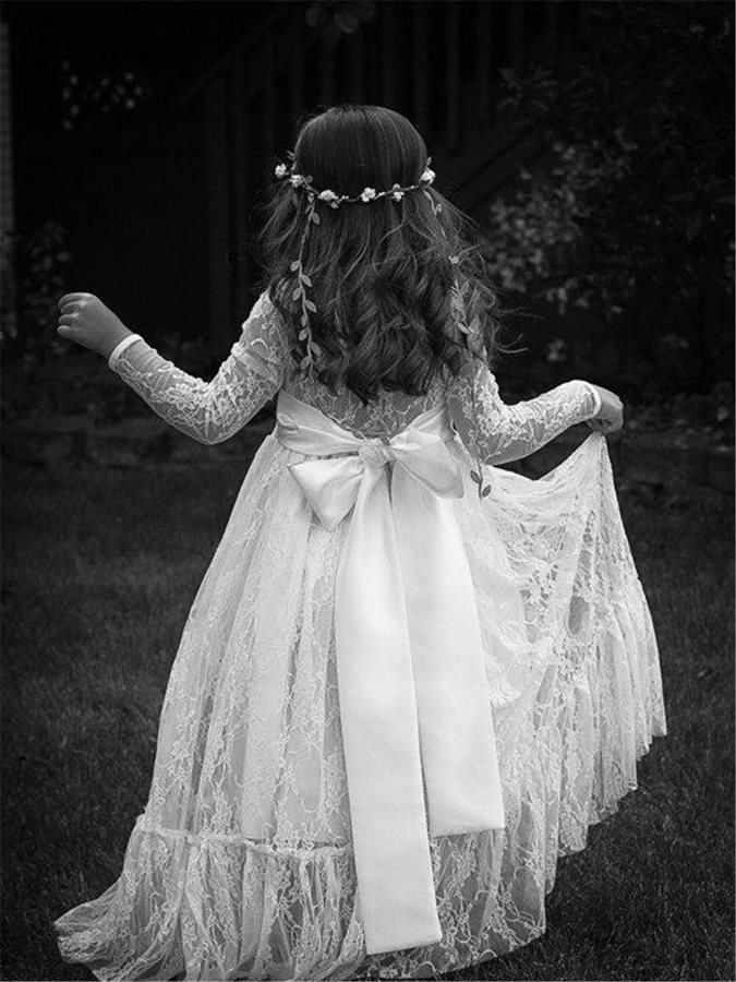 Jewel Neck A-Line Lace Flower Girl Dress with Long Sleeves