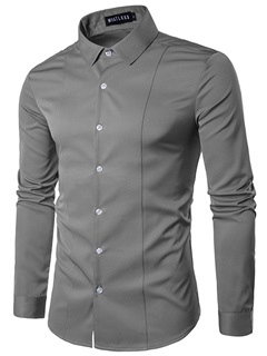 Pure Color Slim Single-breasted Men's Shirt