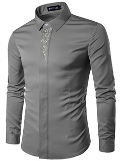 Embroidery Lapel Straight Men's Shirt
