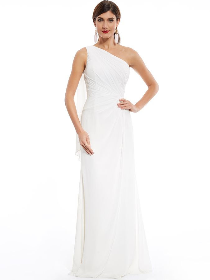 One Shoulder Pleats A Line Evening Dress