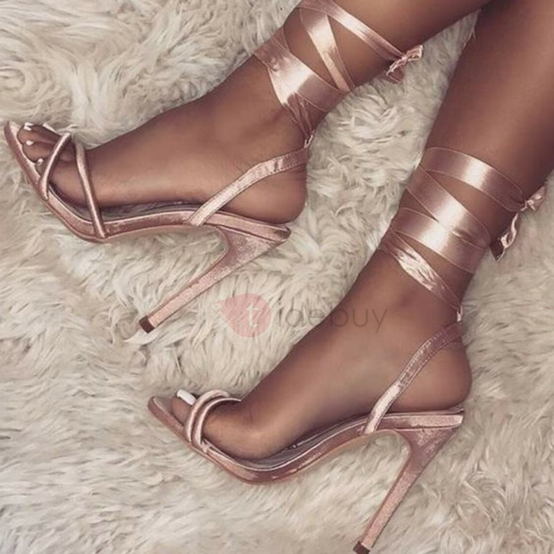 Open Toe Lace-Up Stiletto Heel Sandals