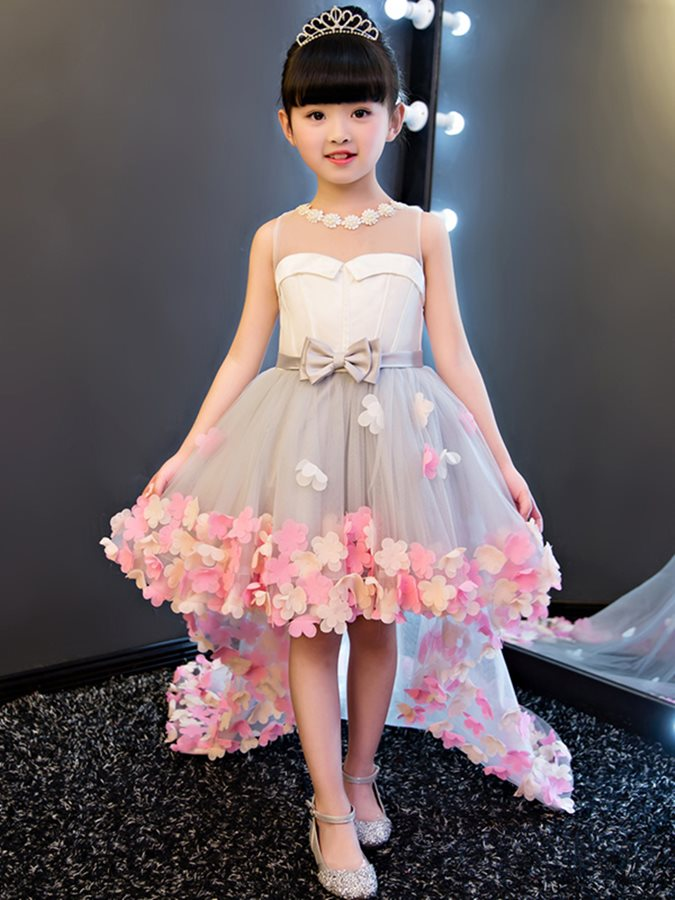 Jewel Neck Bowknot High Low Flower Girl Dress