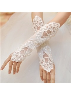 Perfect Sequins Fingerless Applique Bridal Gloves
