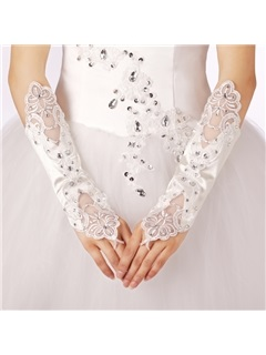 Delicate Satin Fingerless Wedding Gloves with Appliques