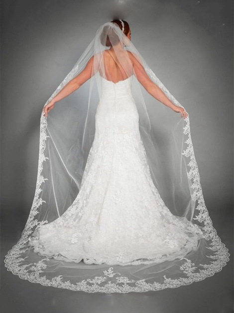Courtlike Appliques Tulle Wedding Veil