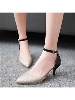 PU Color Block Simple Women's Pumps