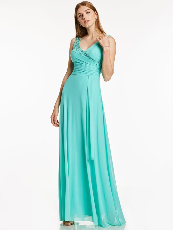 9bf1ca55ef Fancy V Neck Zipper-Up Beaded Pleats A Line Evening Dress : Tidebuy.com