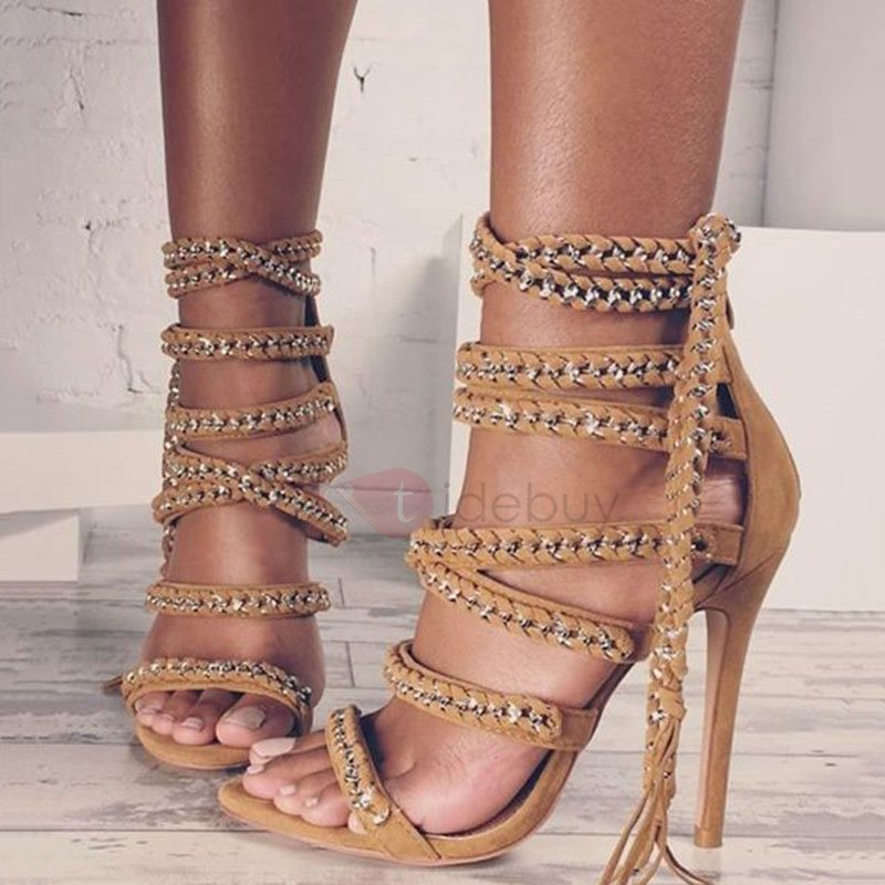 Image of Chain Tassel Open Toe Heel Sandals
