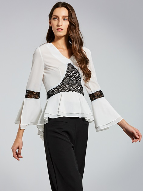 V-Neck Lace Patchwork Flare Sleeve Women's Blouse